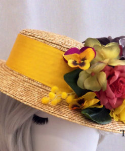Canotier paja natural en amarillo CAROLA