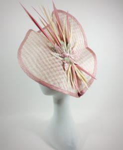Tocado con trama cuadriculada rosa y beige LEILA