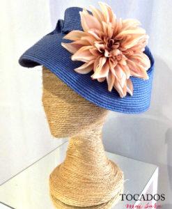 Sombrero paja azul con flor naranja SHIRIN