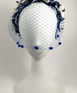 Diadema con tul floral en tonos azul ADELE