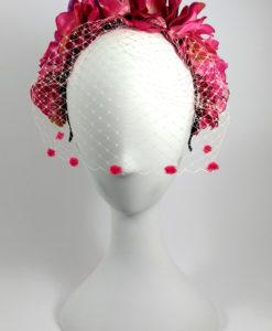 Diadema con tul floral en tonos fucsia ADELE
