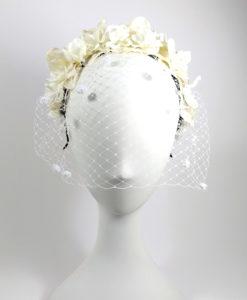 Diadema con tul floral novia ADELE