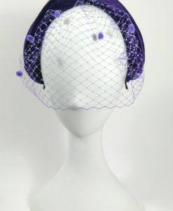 Diadema turbante terciopelo con tul en color azul ADRIANA