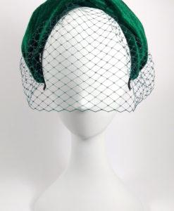 Diadema turbante terciopelo con tul en color verde ADRIANA