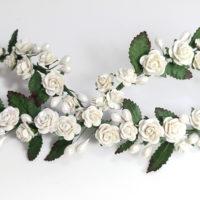 Tocado Novia Floral con hojas y pistilos NISALA