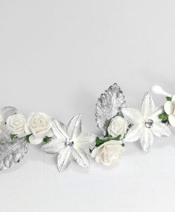 Tocado Novia en metal y flores NIKA