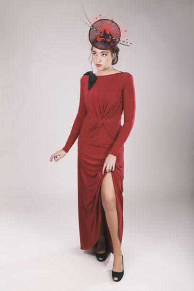 Diadema moda Tocado rojo negro NAIMA