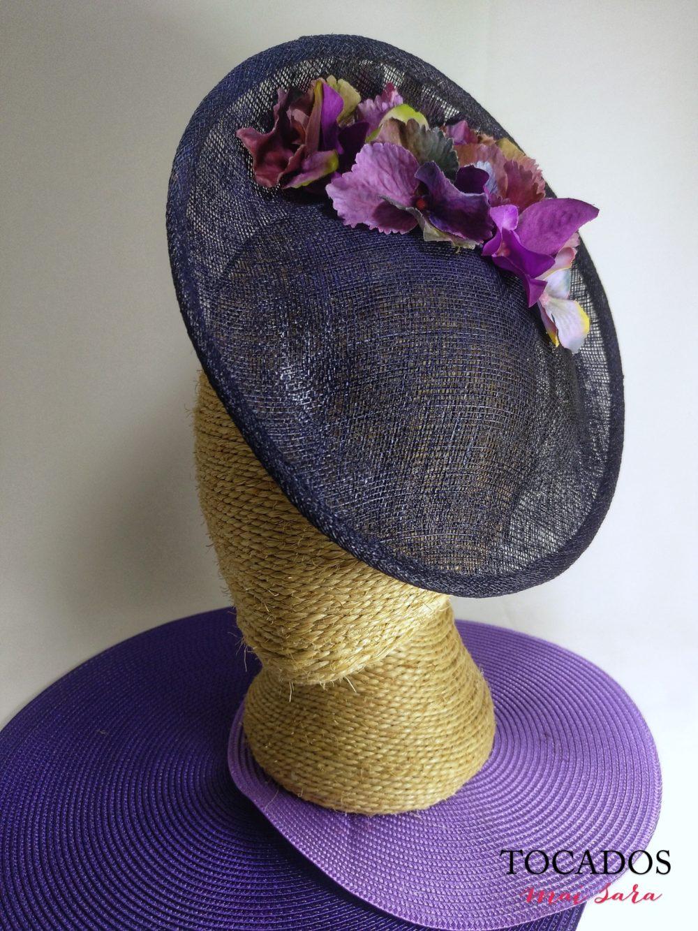 Tocado en morado y violeta TRIESTE MINI