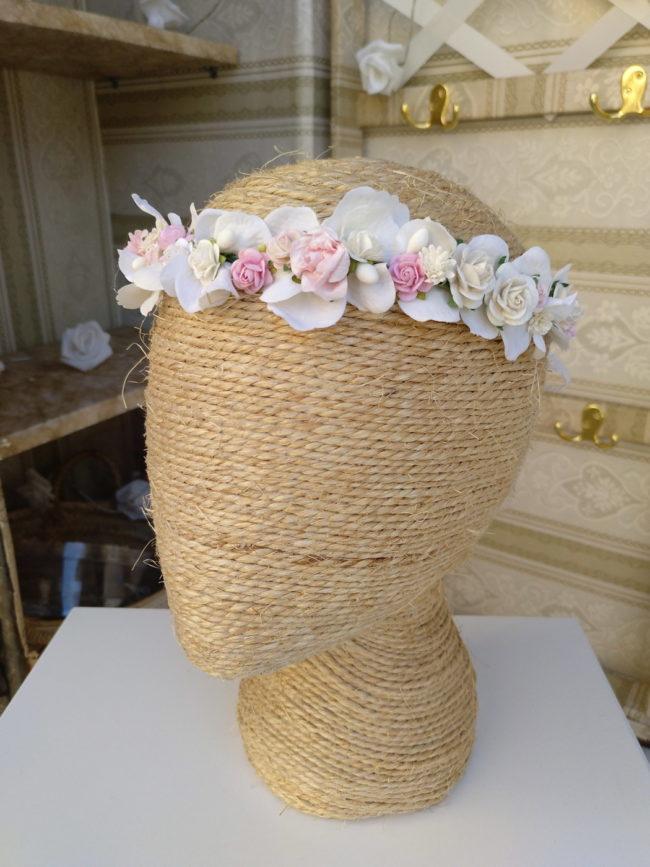 Corona floral blanco y rosa PANDORA