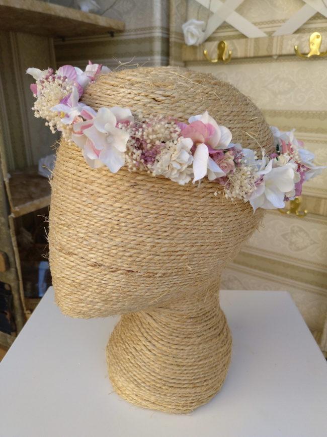 Corona floral malvas rosas LUANA
