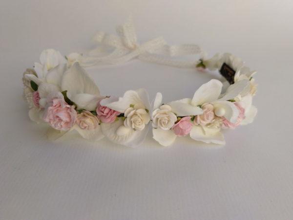 Corona floral rosa y blanco PANDORA