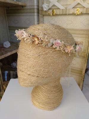 Corona floral rosa y tostado LAILA