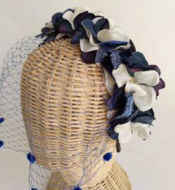 Diadema floral azules con tul ADELAIDA