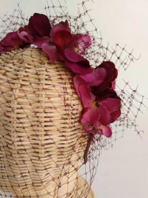 Diadema floral bugambilla con tul ADELA