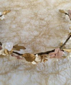 Novia Corona Porcelana fria dorado nude