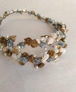 Novia Corona doble dorado plata rosa JULIA