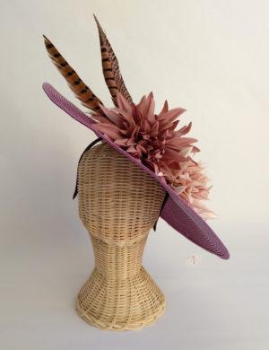 Pamela bugambilla oscuro con plumas y flores CORDOBA M