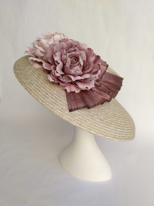 Sombrero paja natural gris flores rosas CELIA