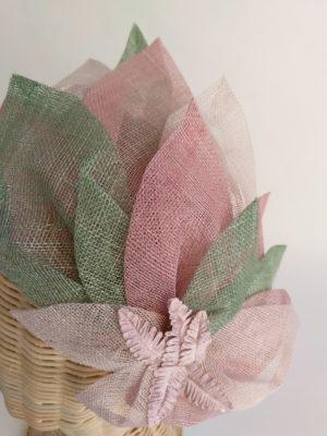 Tocado hojas rosas verde DEMI