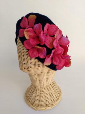 Turbante terciopelo marino flores fucsia FLOWER