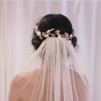 Tocados de novia / Corona Porcelana rosa dorado VENUS