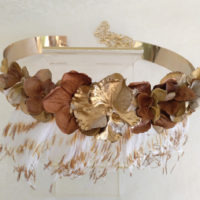 Cinturon de flores dorado y bronce CHARLOTTE