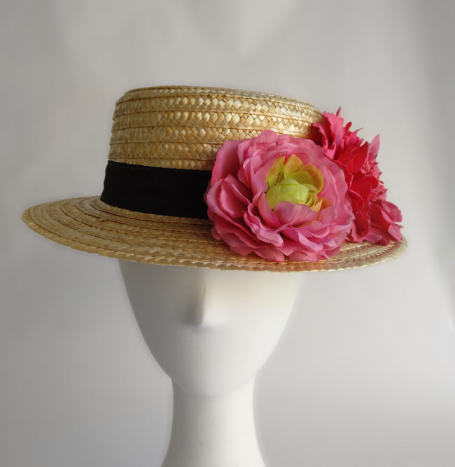 Boater with Fuchsia coloured flowers  RONDA 2