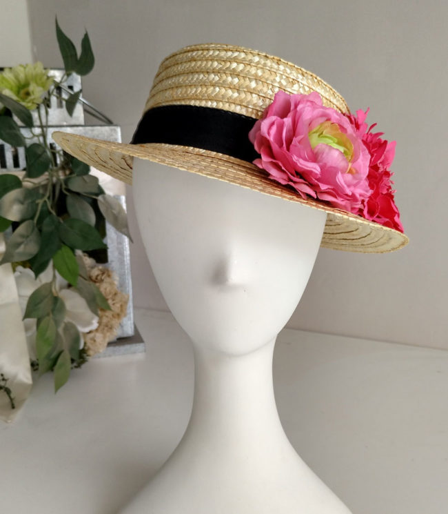 Boater with Fuchsia coloured flowers  RONDA 1