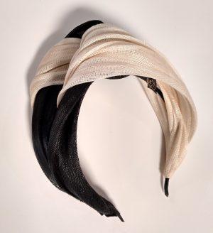 Diadema turbante negro beige SAHARA